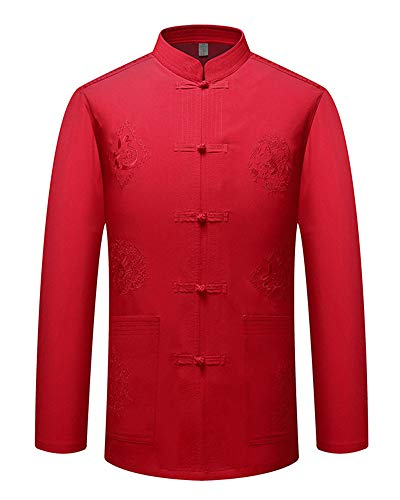 Hombres Estilo Chino Lino Traje Tang Bordado Top Comodo Tai Chi Shaolin Camisa de Entrenamiento Rojo 39