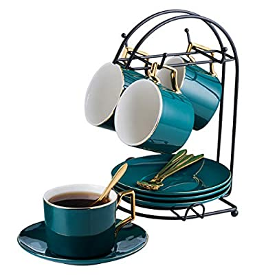 Jusalpha Dark Turquoise Green- 7oz Fine China Tea Cup/Coffee Cup With Spoon and Tray/Saucer Set with Bracket, Serve of 4 TCS21(4)