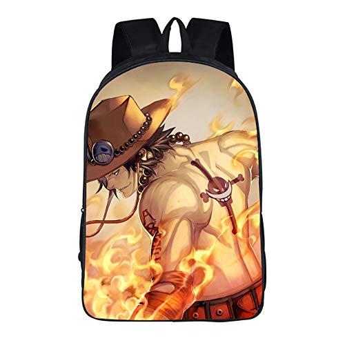 XYUANG Anime Cosplay backpack One Piece Portgas·D· Ace Mochila de viaje unisex bolsa Bolso de escuela Black