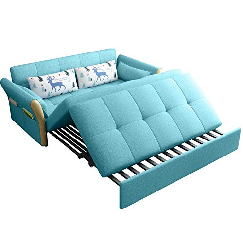 RJMOLU Reversible Fabric Loveseat and Sofa Bed Couch Sleeper, Convertible Sectional Sofa Couch for Small Space, Lake Blue,Latex filling,2.06m