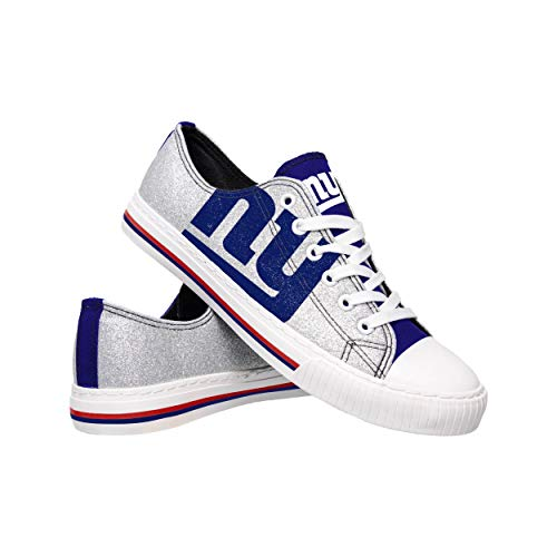 NFL New York Giants Womens Ladies Glitter Low Top Canvas Sneaker Shoesladies Glitter Low Top Canvas Sneaker Shoes, Team Color, 8/Large