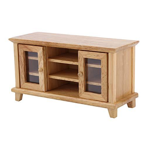 Puppenhausmöbel, 1:12 Puppenhaus-Miniaturmöbel Modell Holzspeicher TV-Schrank Puppenhausdekoration Zubehör(Holzfarbe)