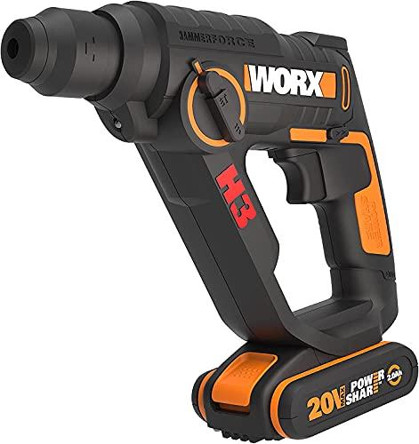 WORX WX390.1 Bohrhammer SDS-plus - 20V Bohrmaschine mit pneumatischem Hammerwerk zum Schrauben, Bohren & Hämmern – 1,2 Joule Schlagenergie – mit 2 Li-Ion Akkus, Ladegerät & Koffer