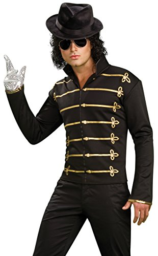 Rubies Costume Michael Jackson Military Jacket. Includes: Black zipper front lightweight jacket, Gold shoulder epaulettes, Gold and glitter printed embellishments on the front.