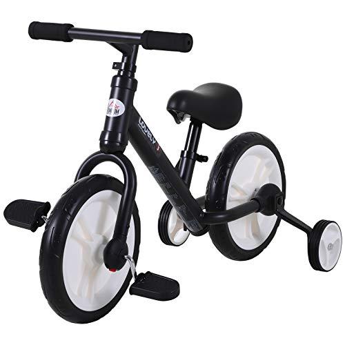 HOMCOM Bicicleta de Equilibrio con Pedales y Ruedas Entrenamiento Extraíbles de Asiento Regulable 33-38cm Niños +24 Meses Carga 25kg Negro
