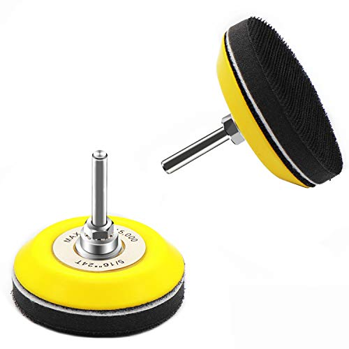 3 Inch(75mm) Hook and Loop Buffing Pad for Sanding Discs, Rotary Backing Pad with 1/4 Inch Dia Shank Drill Attachment and Soft Foam Layer-2 Pack