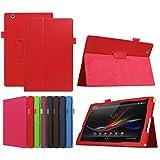 ソニーXperia Z4タブレットウルトラ10.1 SO-05G / au SOT31 / SGP771 / SGP712と互換性のある超スリムな高級フォリオスタンドスリープ/ウェイクアップレザーケースカバー +1xソフトクリアスクリーンプロテクター(2-Red)