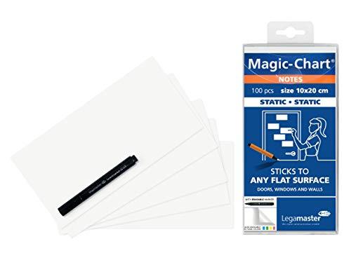 Legamaster 7-159419 Magic-Chart Notes, elektrostatische Haftnotizen, 10 x 20 cm, 100 Blatt, weiß