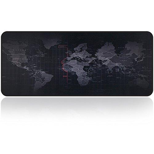 """Tappetino per mouse di grandi dimensioni 31.5""""x 11.8 x 0.15"""" Tappetino per tastiera Pad con tappetino per mouse pad rettangolare in gomma antiscivolo di Qisan-Carta geografica"""