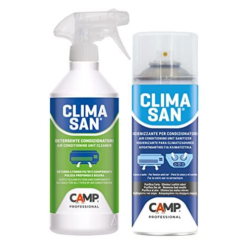 Camp CLIMASAN Igienizzante Climatizzatori, a base alcool, per casa e auto, purifica l'aria e neutralizza i cattivi odori + Detergente climatizzatori