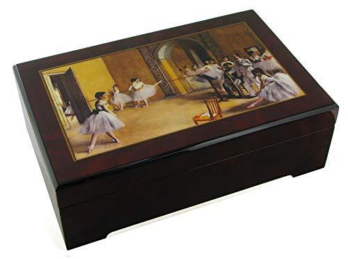 Caja de música para joyas / joyero musical animado de madera con una reproducción de un cuadro de Edgar Degas y bailarina - El lago de los cisnes (P. I. Chaikovski)