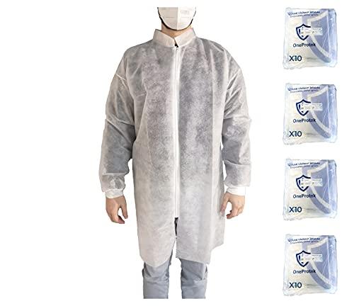 Juego de 4x 10 Batas de aislamiento desechables OneProtek - Bata de trabajo blanca con cremallera, puño de tela y manga larga - Talla única (40)