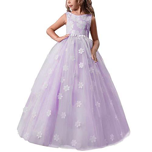 pequeño y compacto TTYAOVO Vestido de princesa con flores para niñas, vestido de baile de salón de tul esponjoso para niños …