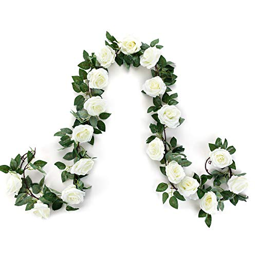Artificial Rose Flower Garland White, 2pcs 15FT Silk Rose Flower Vines with 9 Big Rose head and Green Leaves, Good Choice Hanging Plant for Home Decor, Wedding Arch Decoration, Backdrop Decor(white,2)