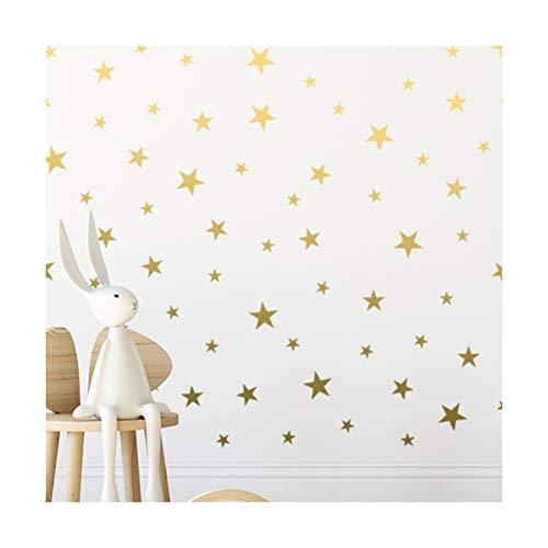Pegatinas de pared de estrellas doradas, removibles, para decoración del hogar, fácil de despegar, paredes pintadas, vinilo metálico, diseño de lunares, para bebés y niños (124 unidades)