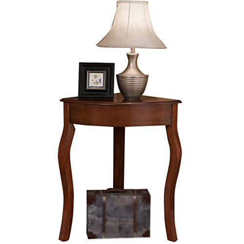 Home.table Mesa De Madera Maciza Retro, Mesa De Esquina Triangular, Mesa De Esquina para Sala De Estar, Entrada, Porche, Mesa Marrón, Soporte para Flores(Size:63 * 45 * 76CM)