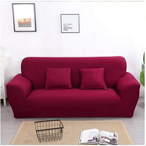 Allenger Sofa Seat Cushion Cover,Einfarbige Stretch-Sofabezug, Vier Jahreszeiten universelle rutschfeste Sofabezug, einfarbige Möbel staubdichte Sofakissenbezug-Weinrot_90-140cm