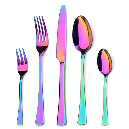 Sharecook 30 Stück Titanium Regenbogen Farbe Plated Besteck, 30 Stück Bunte Besteck Set, Multi Farbe Besteck Set Besteck, Service für 6 (glänzend Rainbow)