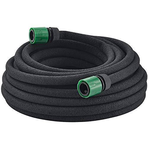 Juskys Perlschlauch Flex inkl. Befestigungsmaterial | Verbinder & Spieße | 30 m | schwarz | Gartenschlauch Bewässerungsschlauch