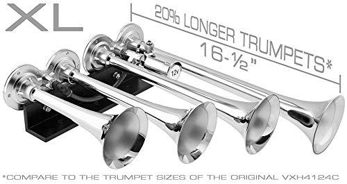 Vixen Horns Train Horn for Truck/Car. 4 Air Horn Chrome Plated Trumpets (XLong). Super Loud dB. Fits 12v Vehicles Like Semi/Pickup/Jeep/RV/SUV VXH4124XLC