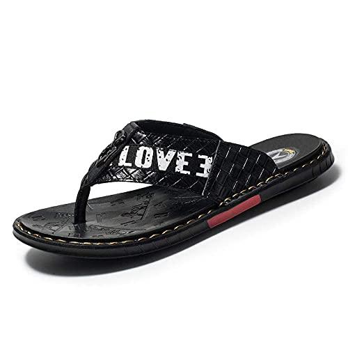 Flip Flops Arch Support Sport Thong Sandals, Chanclas de Cuero para Hombres Zapatillas Antideslizantes de Ocio al Aire Libre-Black_39, Sandalias con Punta de Clip