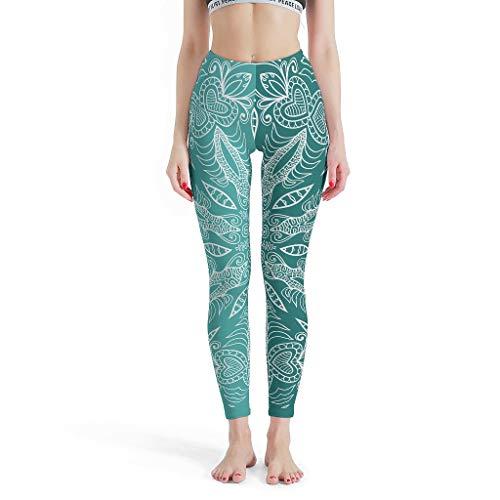 YxueSond - Mallas elásticas para mujer, 4 vías, para yoga, control de barriga, color verde azulado, Mandala Fitness Running Leggings para niña Blanco blanco XS