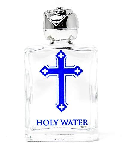 Lourdes Gifts - Weihwasserflasche mit blauem Kreuz, silberfarbener Deckel - enthält Wasser aus Lourdes und Gebetskarte