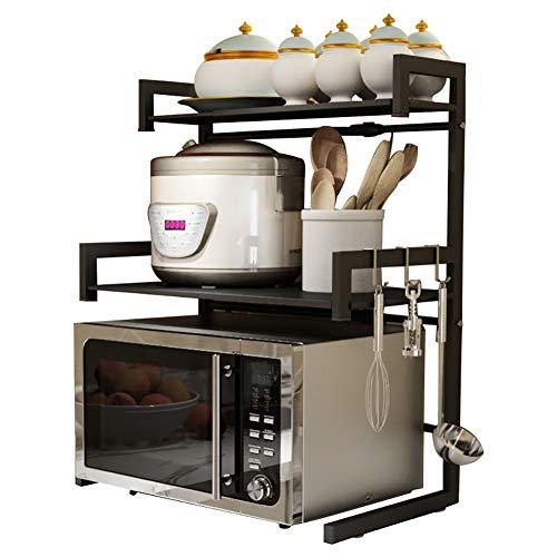 BCXGS 3-Tier Magnetron Plank, Vrijstaande Magnetron Oven Rekstandaard, Uitbreidbare Keuken Plankhouder voor Verschillende Maten van Ovens En Keukengerei, 44/60x32x75cm