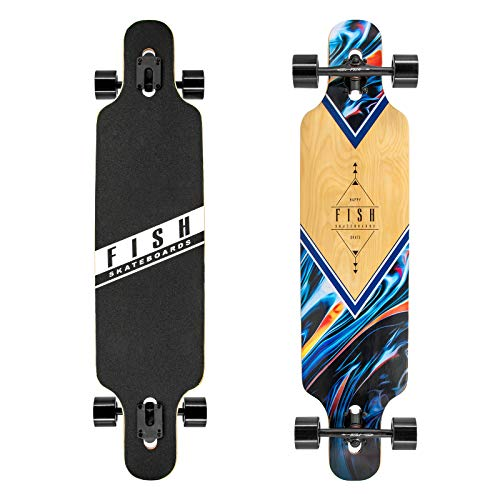 FISH SKATEBOARDS 41 Zoll Downhill Longboard Skateboard Through Deck 8 Ply Canadian Maple, Complete Cruiser Free-Style