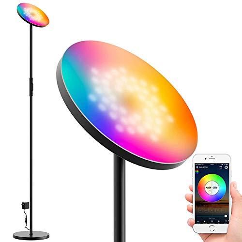 WIFI 24W LED Stehleuchte RGBWC Dimmbar, Smart Stehlampe Wohnzimmer Deckenfluter Standlampe Standleuchte 2000LM, CCT 2700K-6500K/Sync Musik/Timer/Memoryfunktion, Kompatibel mit Alexa Google Home