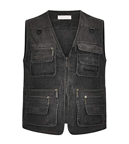 IKIIO Men's Denim Vest Casual Jacket Sleeveless Cotton Vests Loose Fit Plus Size 16 Pockets (Gray, 3X-Large)