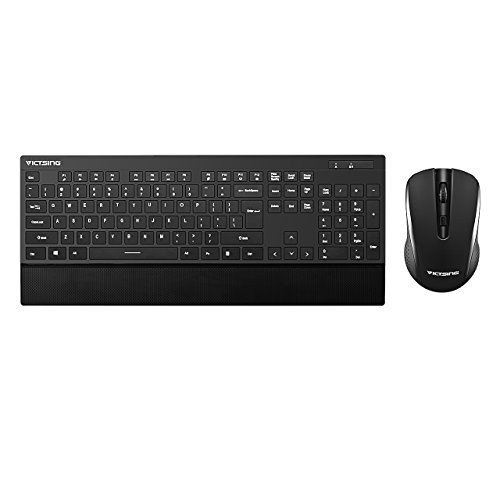 9. VicTsing Ultra-thin Wireless Keyboard and Mouse Combo with Palm Rest, 2.4GHz Connectivity, Long Battery Life