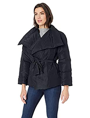 Lark & Ro Women's Long Sleeve Short Puffer Coat with Wrap, Black, X-Large