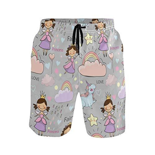 Bañador para hombre de secado rápido bañador de natación corto lindo cuento de hadas princesa unicornio tablero pantalones cortos S S