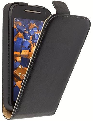 mumbi Tasche Flip Case kompatibel mit Motorola Moto E2 Hülle Handytasche Case Wallet, schwarz