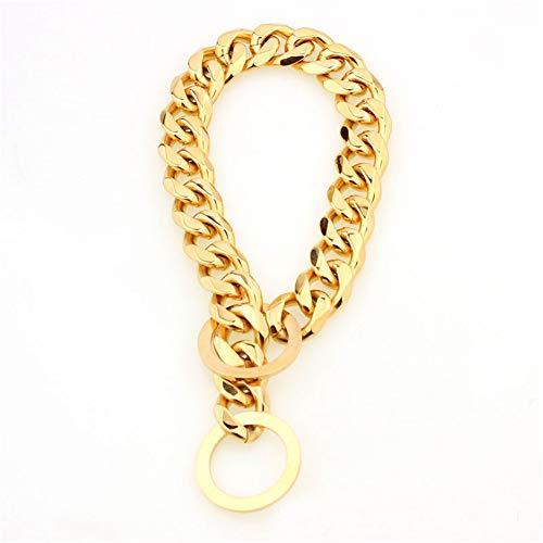 cnboy 15mm Metall Hunde Training Choke Kette Halsbänder für große Hunde Pitbull Bulldog Strong Silber Gold Edelstahl Slip Hundehalsband 12 Zoll Umfang Gold