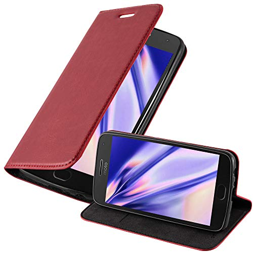 Cadorabo Custodia Libro per Motorola MOTO G5 PLUS in ROSSO MELA - con Vani di Carte, Funzione Stand e Chiusura Magnetica - Portafoglio Cover Case Wallet Book Etui Protezione