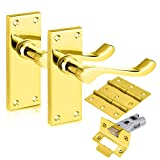 Polished Brass Lever Latch Scroll Door Handles Internal Set, Interior Door Handle Sets, Door Handle Latch Pack Complete with Door Handles, 75mm Hinges and A 65mm Tubular Latch for Wooden Doors