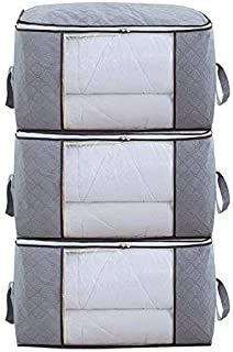 DarNio Foldable Storage Bag Organizers, Waterproof Anti-Mold Moisture Proof Clothes Storage Container Zipper Bag with Clear Window Carry Handles for Blanket Comforter Bedding, Closet Storage Boxes