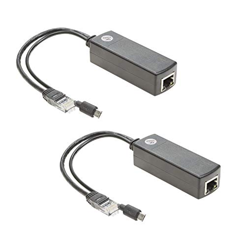 UCTRONICS for Raspberry Pi PoE Splitter 5V [2-Pack] - Active PoE to Micro USB Adapter, IEEE 802.3af Compliant, for Tablets, Dropcam and Raspberry Pi 2/3, and More