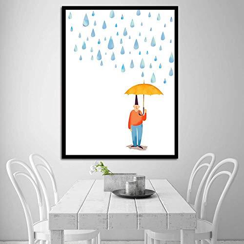 zgwxp77 Decoración del hogar Arte de la Pared Lienzo Pintura Rain Man Cartoon HD Print Poster Hotel Living room30X40 sin Marco