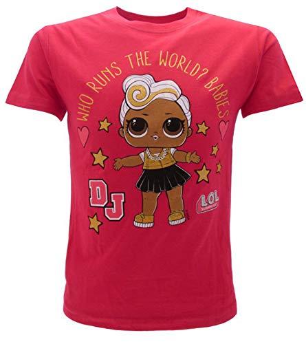 LOL Surprise! T-Shirt Originale Maglietta Ufficiale Bambina Glitter DJ Fucsia L.O.L. (7-8 Anni)