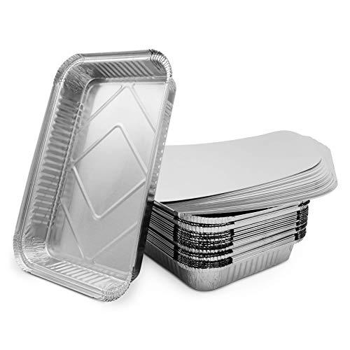 Mamatura 25 bandejas de aluminio XL con tapa | 25 cuencos de aluminio | 32 x 22 cm | 2100 ml | grandes, rectangulares, resistentes al calor (25, cuencos de aluminio con tapas)