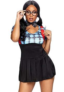 Leg Avenue Women s 4pc.naughty nerd,dress w/keyhole,collar glasses frame,panty sml/med blue Small/Medium