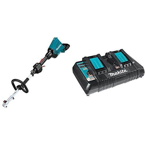 Makita XUX01Z 18V X2 (36V) LXT Lithium-Ion Brushless Cordless Couple Shaft Power Head, Tool Only with Makita DC18RD 18V Lithium-Ion Dual Port Rapid Optimum Charger