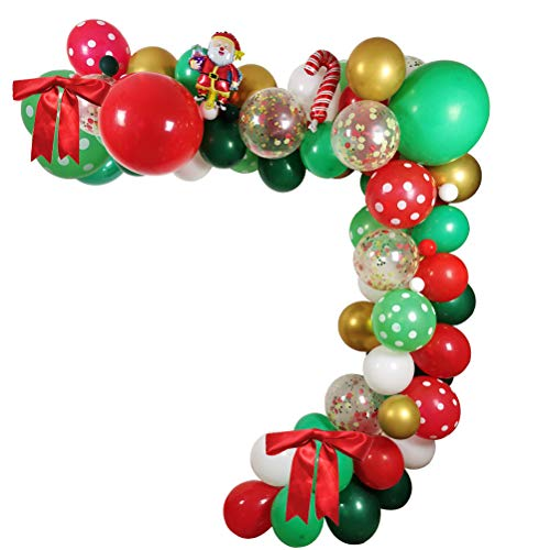 LLH 106 Pack Christmas Balloons Garland Decorations, 18' 12' 5' Xmas Balloons Red Green White Gold Santa Claus Mylar Balloon Big Xmas Red Bow for Christmas Party Supplies