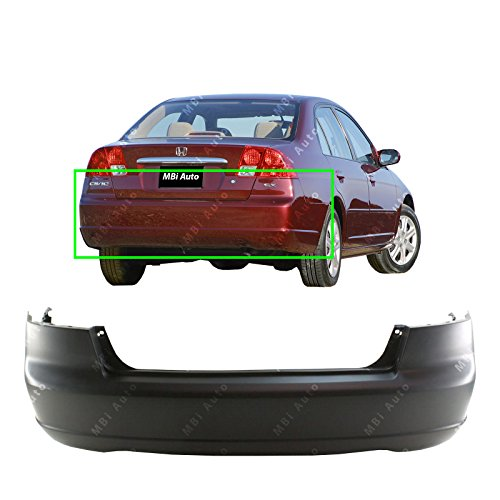 MBI AUTO - Primered, Rear Bumper Cover for 2001 2002 2003 Honda Civic Sedan & Hybrid 01 02 03, HO1100200