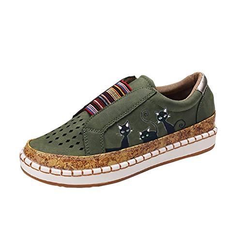 Xmiral Beiläufig Flache Schuhe für Damen in Übergröße, Elastische Schlüpfen EIN Schritt Atmungsaktiv Schuhe mit Katzendruck(38,Grün)