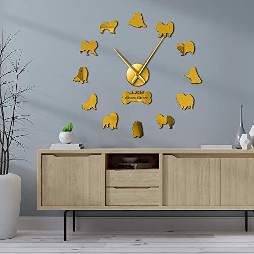 Chow Chow - Pegatinas de espejo para perro para decoración del hogar, relojes de pared grandes, diseño de raza de perro, arte de pared gigante, sin marco, regalo para dueños de Chow