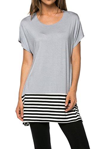 2LUV - Camiseta de tirantes - para mujer plateado plata Large
